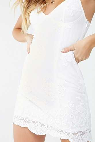 Forever 21 Embroidered Mesh Lace Dress  Ivory - GOOFASH