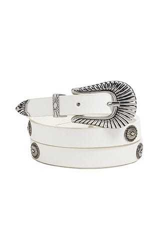 Forever 21 Etched Skinny Buckle Belt  White - GOOFASH