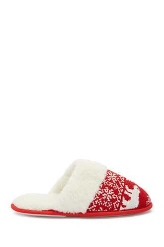 Forever 21 Fair Isle Slippers  Red - GOOFASH