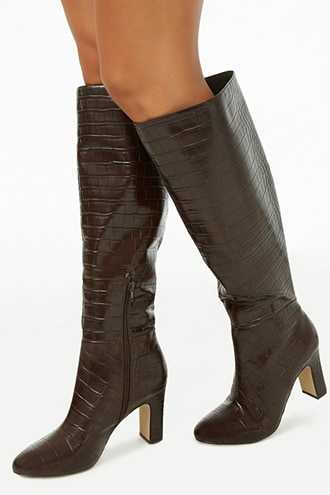 Forever 21 Faux Croc Over-The-Knee Boots  Brown - GOOFASH