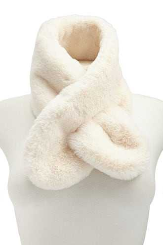 Forever 21 Faux Fur Oblong Scarf  Cream - GOOFASH