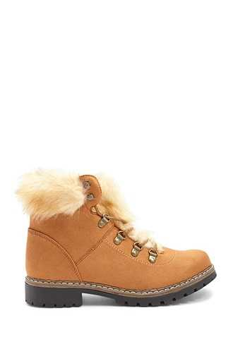 Forever 21 Faux Fur-Trim Lace-Up Boots  Brown - GOOFASH