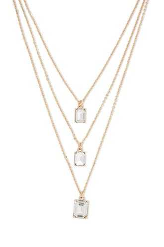 Forever 21 Faux Gem Layered Necklace  Gold/clear - GOOFASH