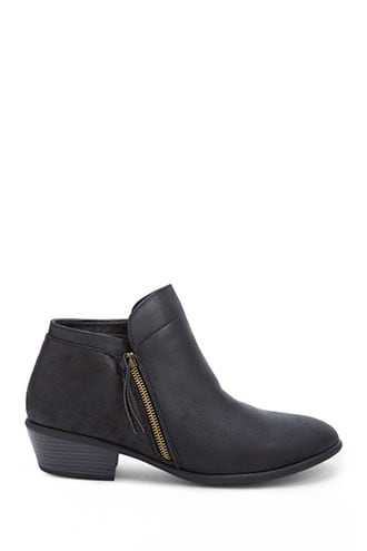 Forever 21 Faux Leather Ankle Booties  Black - GOOFASH
