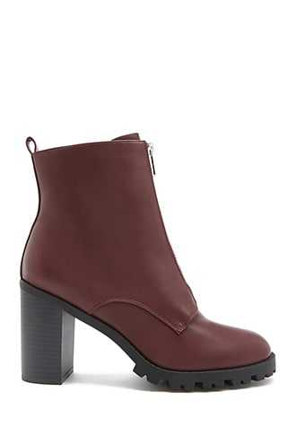 Forever 21 Faux Leather Ankle Boots  Burgundy - GOOFASH