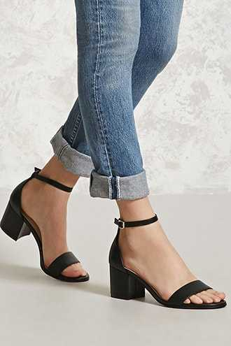 Forever 21 Faux Leather Ankle Strap Heels  Black - GOOFASH