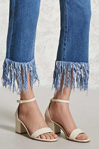 Forever 21 Faux Leather Ankle-Strap Heels Nude - GOOFASH