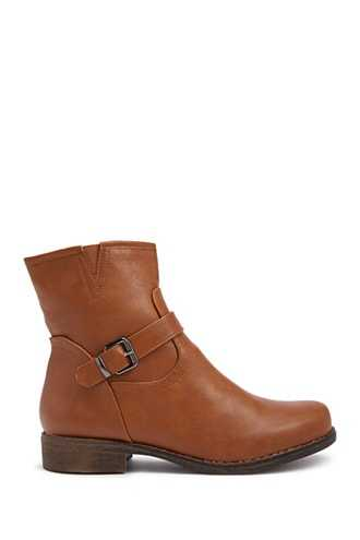 Forever 21 Faux Leather Booties  Brown - GOOFASH