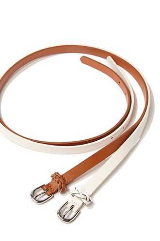 Forever 21 Faux Leather Braided-Trim Belt Tan/white - GOOFASH
