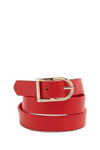 Forever 21 Faux Leather Buckle Belt  Red - GOOFASH