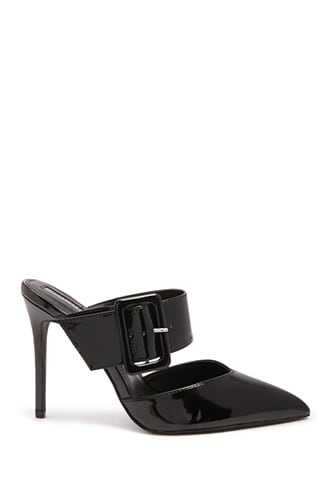 Forever 21 Faux Leather Buckle Mules  Black - GOOFASH