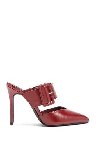 Forever 21 Faux Leather Buckle Mules  Red - GOOFASH