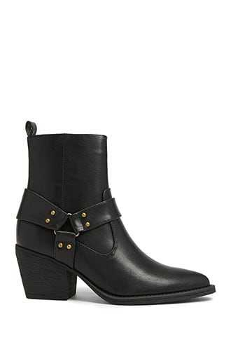 Forever 21 Faux Leather Burnished-Strap Booties Black - GOOFASH