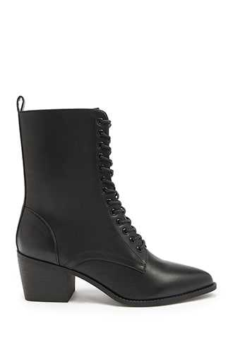 Forever 21 Faux Leather Combat Boots  Black - GOOFASH