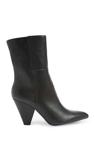 Forever 21 Faux Leather Cone Heel Boots  Black - GOOFASH