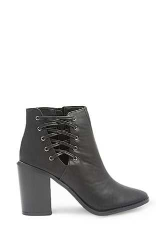 Forever 21 Faux Leather Crisscross Booties  Black - GOOFASH