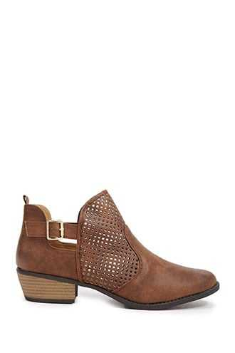 Forever 21 Faux Leather Cutout Booties  Tan - GOOFASH