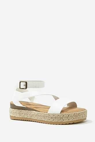 Forever 21 Faux Leather Espadrille Sandals White - GOOFASH