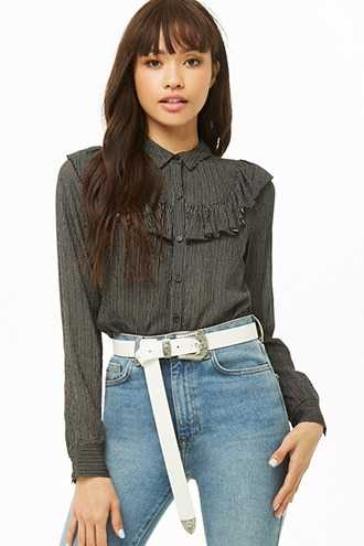 Forever 21 Faux Leather Etched-Buckle Hip Belt White - GOOFASH