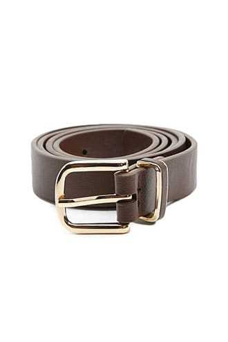 Forever 21 Faux Leather Hip Belt  Chocolate - GOOFASH