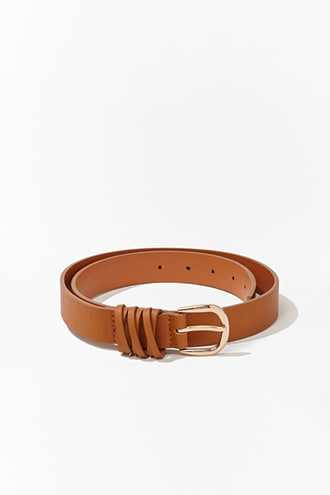 Forever 21 Faux Leather Hip Belt  Tan - GOOFASH
