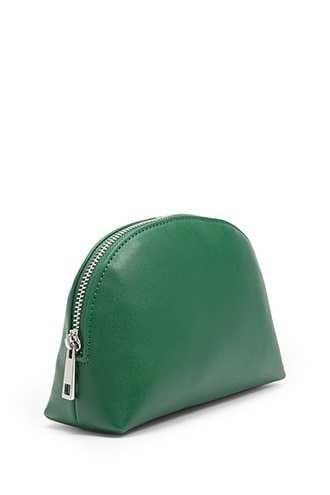 Forever 21 Faux Leather Makeup Bag Green - GOOFASH