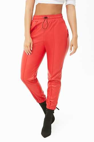 Forever 21 Faux Leather Pintuck Joggers  Red - GOOFASH