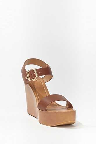Forever 21 Faux Leather Platform Wedges  Brown - GOOFASH
