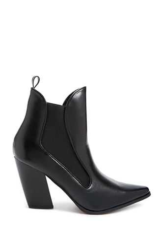 Forever 21 Faux Leather Pointed Ankle Booties  Black - GOOFASH