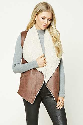 Forever 21 Faux Leather Sherpa Fleece Vest  Brown - GOOFASH