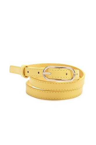 Forever 21 Faux Leather Skinny Belt  Yellow - GOOFASH