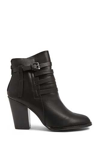 Forever 21 Faux Leather Strappy Booties  Black - GOOFASH