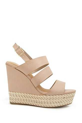 Forever 21 Faux Leather Strappy Espadrille Wedges  Nude - GOOFASH