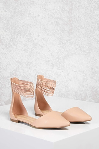 Forever 21 Faux Leather Strappy Flats  Nude - GOOFASH