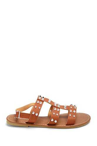 Forever 21 Faux Leather Studded Caged Sandals  Brown - GOOFASH