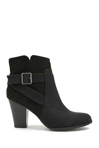Forever 21 Faux Leather & Suede Buckle Booties  Black - GOOFASH