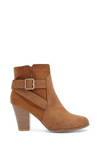 Forever 21 Faux Leather & Suede Buckle Booties  Brown - GOOFASH