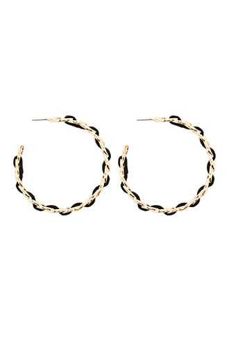 Forever 21 Faux Leather Trim Hoop Earrings  Gold/black - GOOFASH