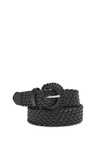 Forever 21 Faux Leather Woven Hip Belt Black - GOOFASH
