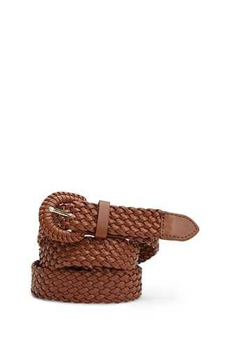 Forever 21 Faux Leather Woven Hip Belt  Brown - GOOFASH