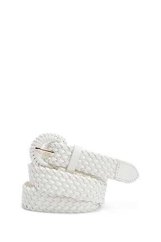 Forever 21 Faux Leather Woven Hip Belt White - GOOFASH