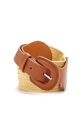 Forever 21 Faux Leather & Woven Waist Belt  Tan - GOOFASH
