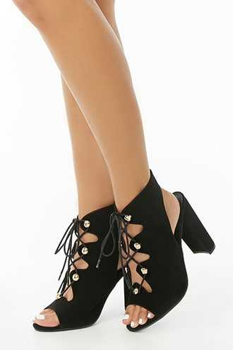 Forever 21 Faux Nubuck Lace-Up Boots  Black - GOOFASH