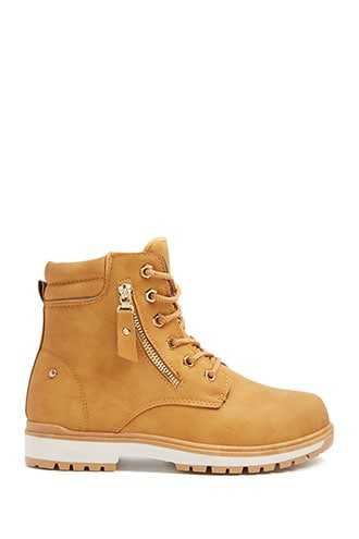 Forever 21 Faux Nubuck Lace-Up Boots  Tan - GOOFASH