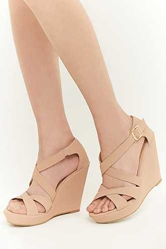 Forever 21 Faux Nubuck Leather Wedges  Nude - GOOFASH