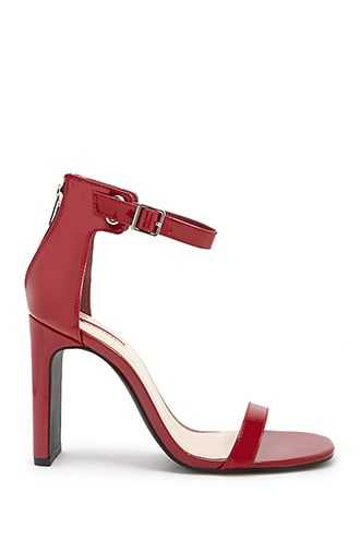 Forever 21 Faux Patent Leather Ankle-Strap Heels  Red - GOOFASH