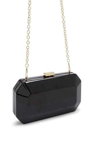 Forever 21 Faux Patent Leather Clutch Black - GOOFASH