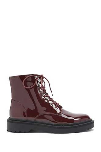 Forever 21 Faux Patent Leather Combat Boots  Burgundy - GOOFASH