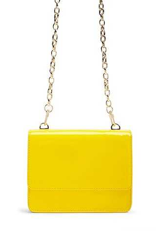 Forever 21 Faux Patent Leather Crossbody  Yellow - GOOFASH