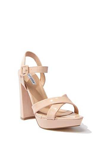 Forever 21 Faux Patent Leather Heels  Nude - GOOFASH